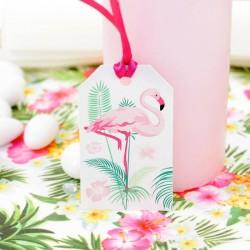 12 étiquettes dragées Flamant Rose