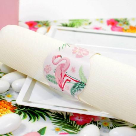 12 ronds de serviette Flamant Rose