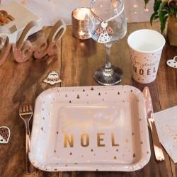 10 Assiettes Joyeux Noël Blush et Or pour une table inédite, chic et tendance.
