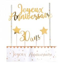 Déco de gâteau Anniversaire 30 ans pour créer un décor simple et chic sur votre gâteau d'anniversaire.
