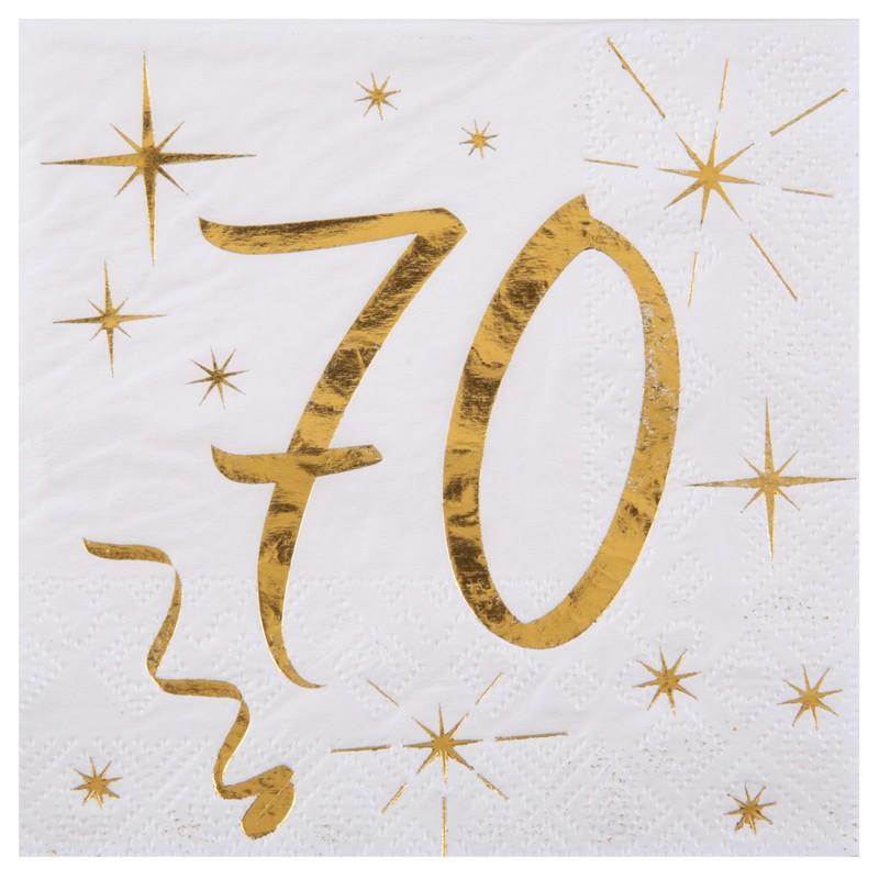 20 serviettes anniversaire 70 ans blanc et or drag es. Black Bedroom Furniture Sets. Home Design Ideas