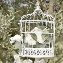 Cage Blanche pour Tirelire ou centre de table pour un événement sur le thème vintage ou bucolique.
