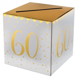 Tirelire Anniversaire 60 ans blanc et or donnera un côté raffiné à votre décoration.
