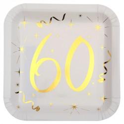 10 Assiettes Anniversaire 60 ans blanc et or, une décoration de table festive et stylée pour la fête de vos 60 ans.
