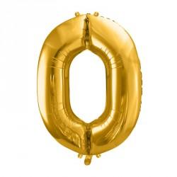Ballon Chiffre 0 métal Or 35cm