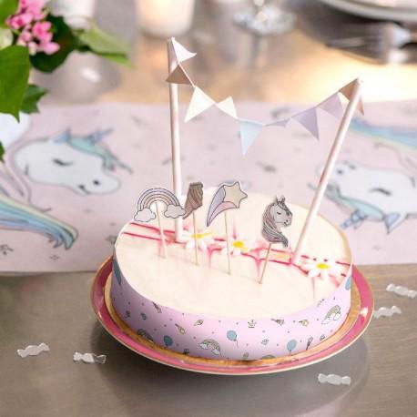 6 Décors de gâteau Licorne
