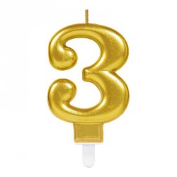 Bougie chiffre 3 or