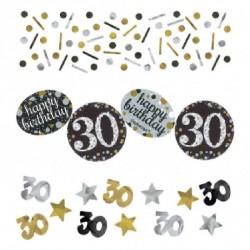 Confettis Anniversaire 30 ans noir et or