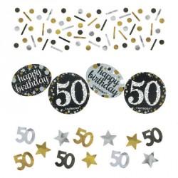 Confettis Anniversaire 50 ans noir et or