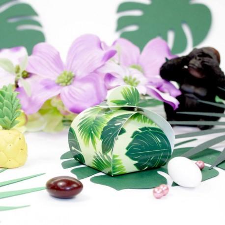 10 petits contenants à dragées thème Jungle exotique tropical