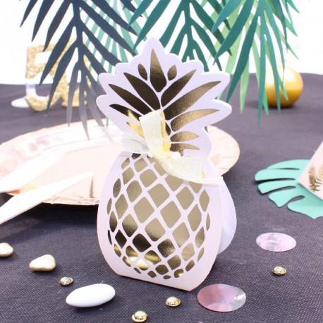10 Contenants Dragées Ananas Rose Gold pour un thème exotique et tropical