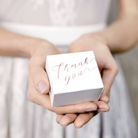 "10 Boites à dragées ""Thank You"" Rose Gold"