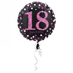 Ballon mylar Anniversaire 18 ans Noir et Fuchsia