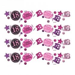 Confettis Anniversaire 18 ans Noir et Fuchsia