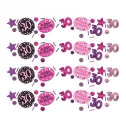 Confettis Anniversaire 30 ans Noir et Fuchsia