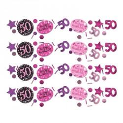 Confettis Anniversaire 50 ans noir et fuchsia