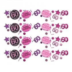 Confettis Anniversaire 60 ans Noir et Fuchsia