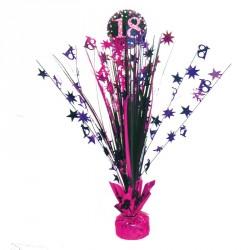 Centre de Table anniversaire 18 ans Noir et Fuchsia