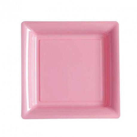 12 petites assiettes rose rigides et réutilisables