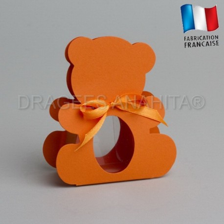 dragées bapteme ourson orange