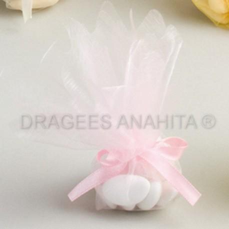 Tulle à  dragées de couleur rose tulle à dragées pour mariage