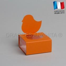 Dragées baptême poussin orange