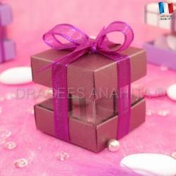 Cube à dragées prune nacré