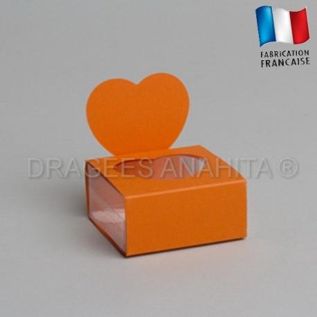 Boite à dragées coeur orange