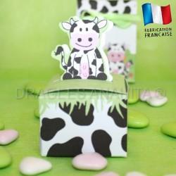 Cube pour dragées thème vache