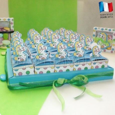 Kit 25 cubes à dragées poney + socle