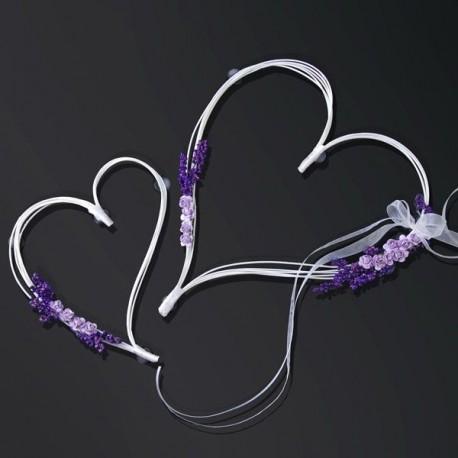 Fleur en coeur lilas pour voiture