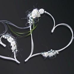 Fleur en coeur écru pour voiture