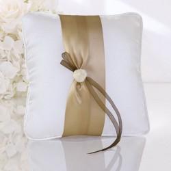 Coussin porte alliance ivoire et chocolat