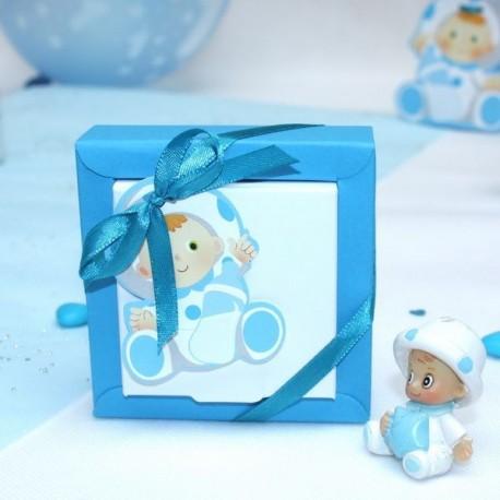 Boite à dragées carré bébé bleu