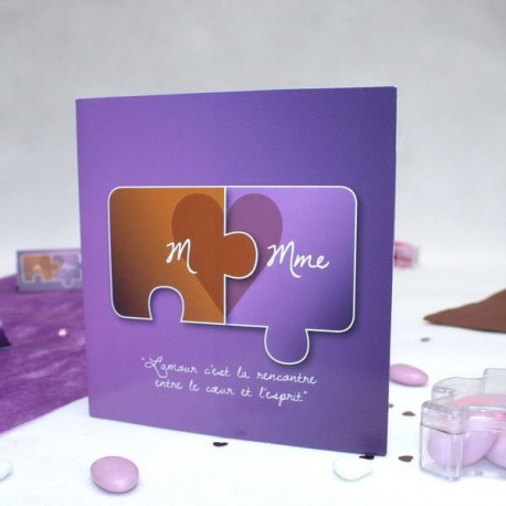 Faire part mariage puzzle