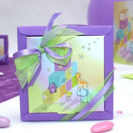 Grande boite à dragées carré cube bébé