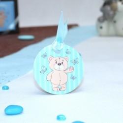 4 Etiquettes à dragées baptême ourson bleu