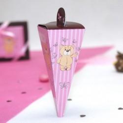 Mini cone à dragées Ourson rose