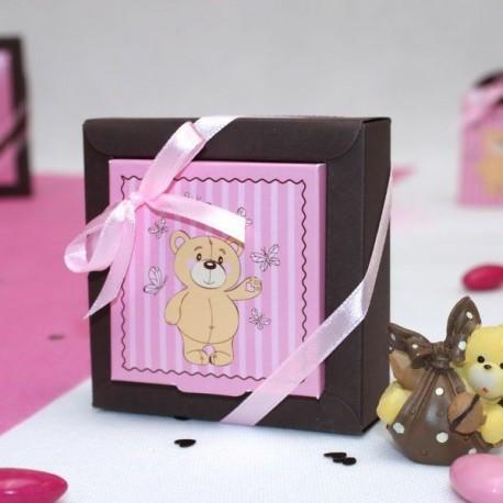 Boite à dragées carré ourson rose