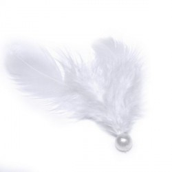 5 Plumes blanches avec perle