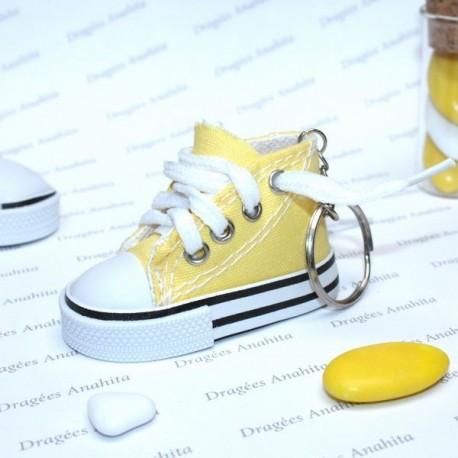 2 Baskets à dragées jaune avec porte clés