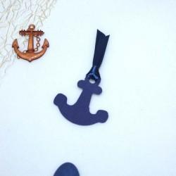 4 Etiquettes à dragées ancre marine