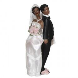 Couple de mariés noirs 17 cm