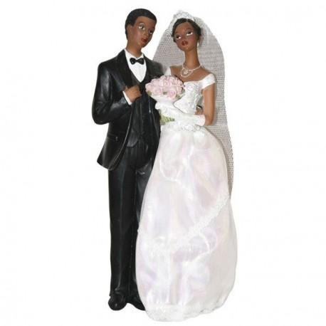 Couple de mariés noirs 23 cm
