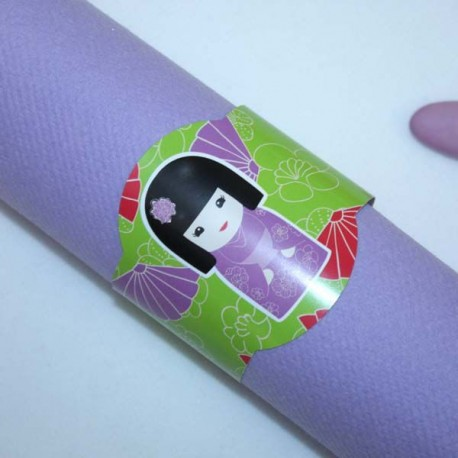 Rond de serviette Kokeshi lilas