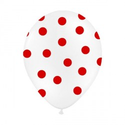 6 Ballons blanc pois rouge 36 cm