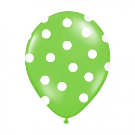 6 Ballons vert pois blanc 36 cm