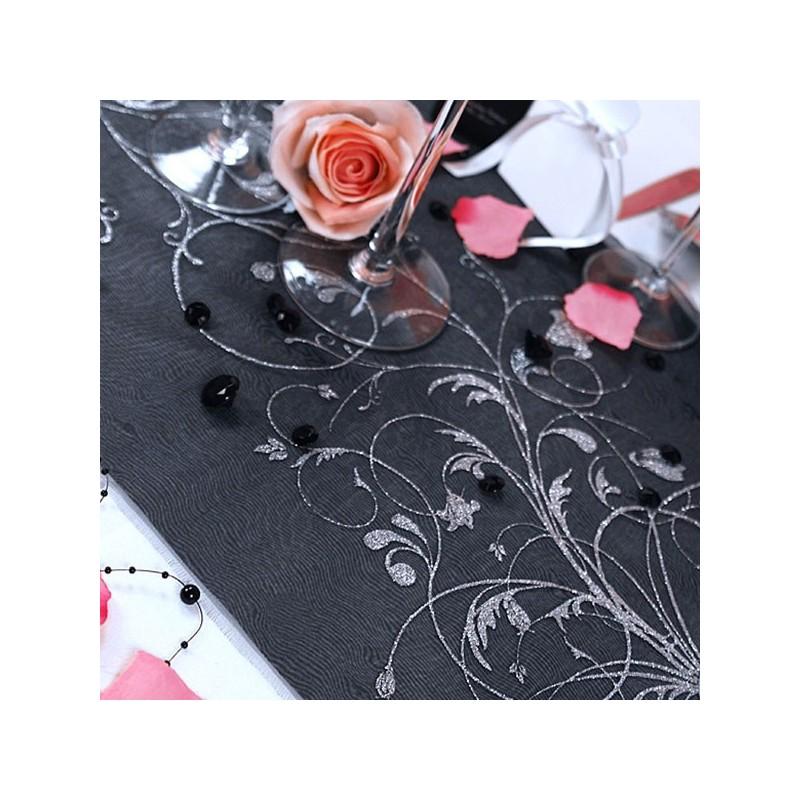 chemin de table baroque noir et argent- dragées anahita