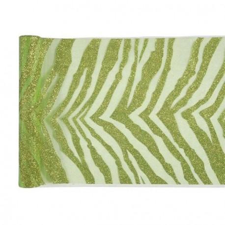 Chemin de table zebre vert