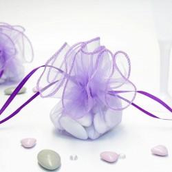 Tulle a dragées lilas avec attache pas cher pour mariage